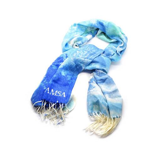 Scarf is manufactured on weaving looms.