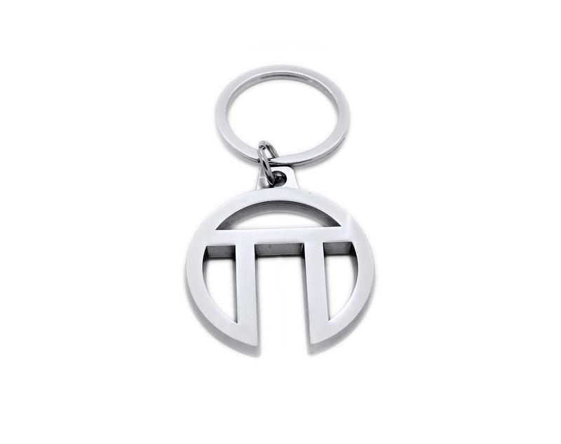 Sample keyring cut to custom shape. We can make the keyring in your logo shape.