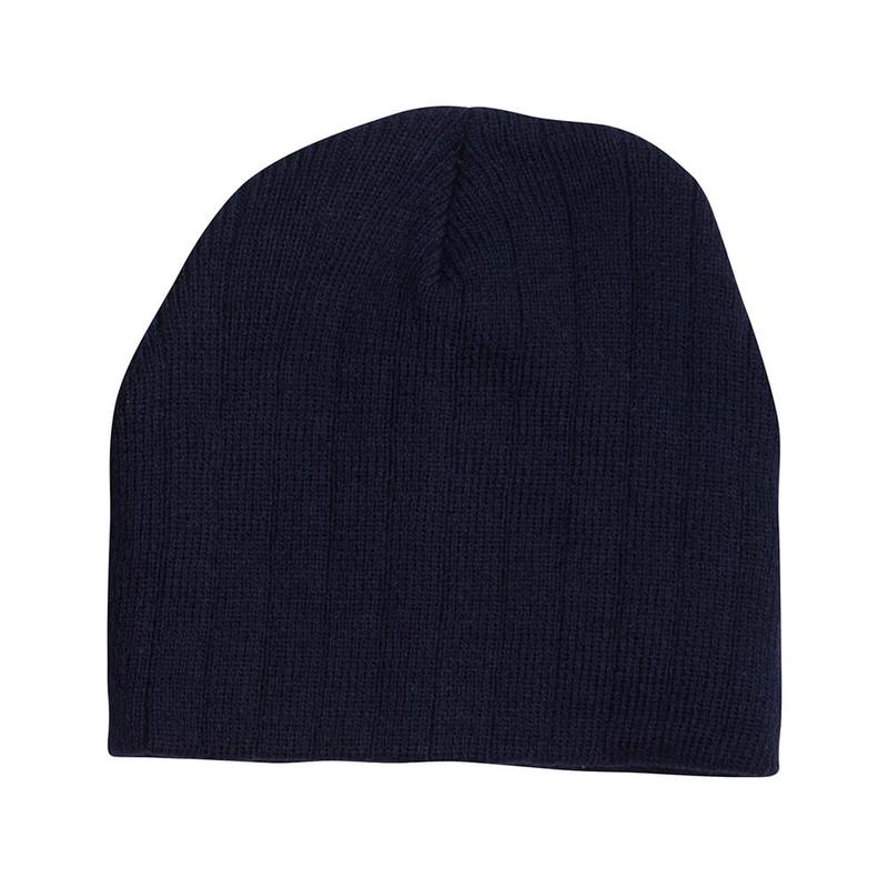 Cable Knit Beanie With Fleece Head Band.100% Acrylic with Cable Row Knit. Available in Black, Charcoal, Navy and Stone. Custom embroidery logo can be added.