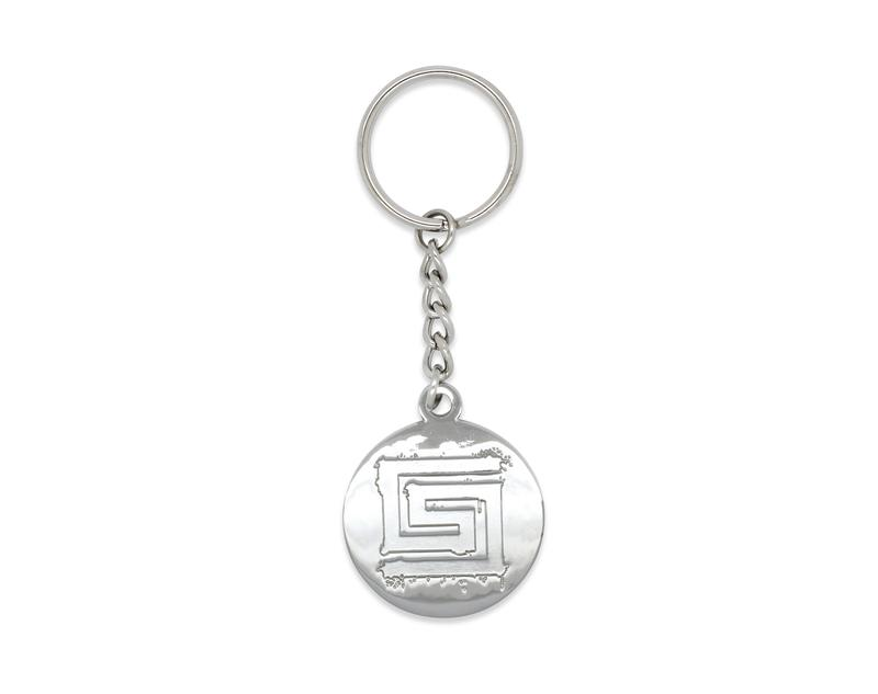 Metal only keyrings without any color. The design is achieved using raised and recessed metal areas and lines. Great for a classic and subtle designs.