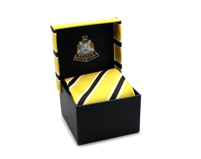 Tie box with colour printed logo and fabric top