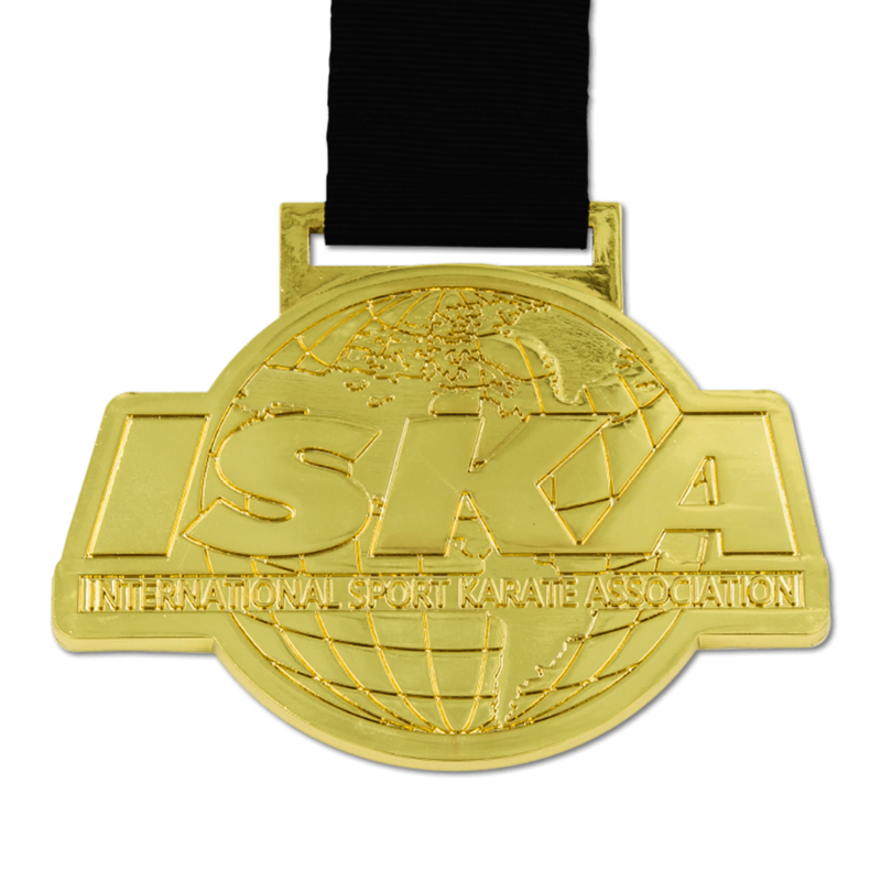 No color metal only medal with smooth raised and recessed metal.