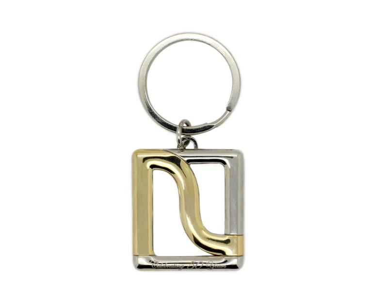 Two tone keyrings with dual plating are possible for a premium look.